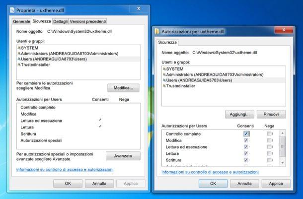 Come fornire autorizzazioni Windows 7