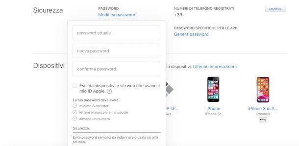 Come cambiare password ID Apple