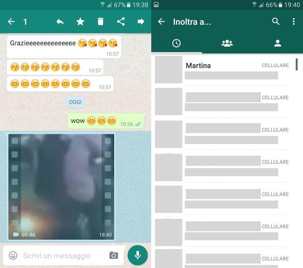 Come inoltrare messaggi WhatsApp