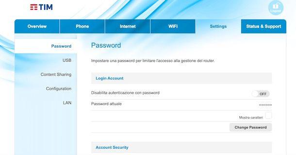 Come cambiare password modem