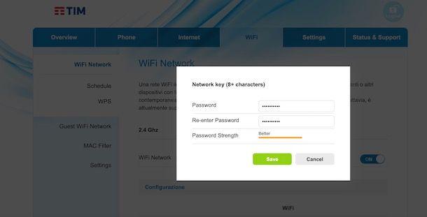 Come cambiare password WiFi