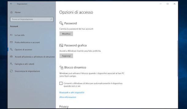 Come cambiare password su Windows 10