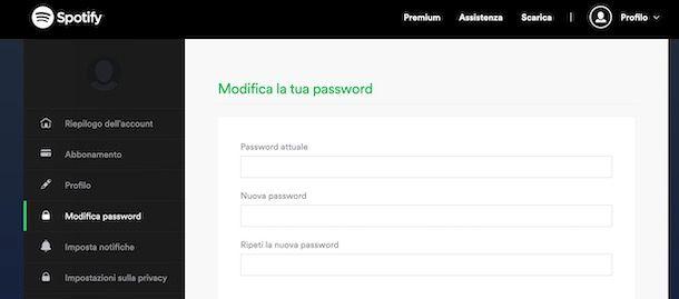 Come cambiare password Spotify