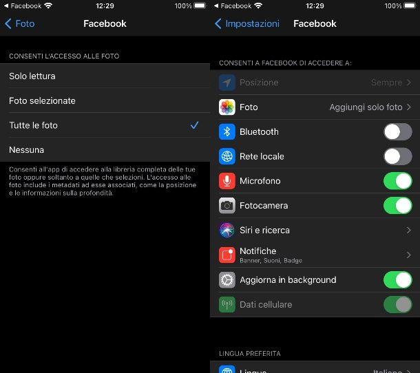 Come permettere a Facebook di accedere alle foto su iPhoneiPad