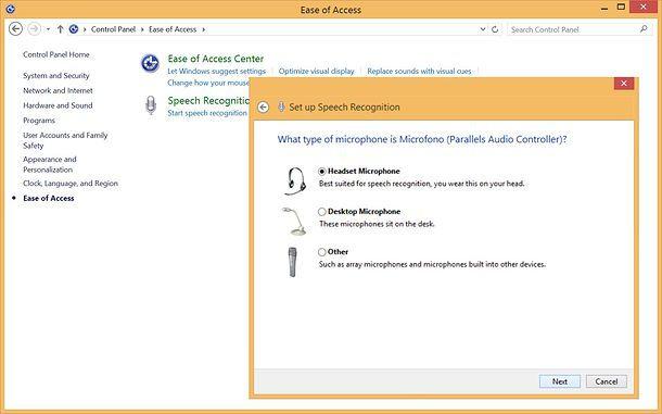 Riconoscimento vocale Windows