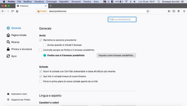 Riavviare Firefox