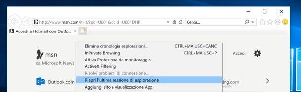Riavviare Internet Explorer