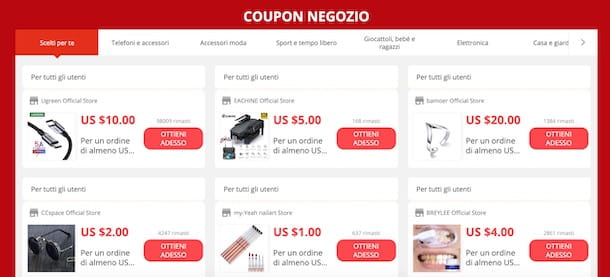 Centro coupon di AliExpress
