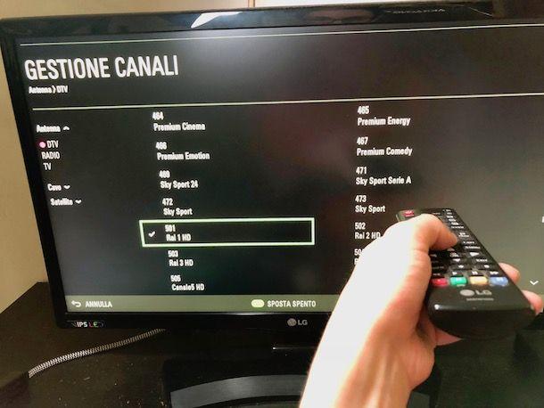Come risintonizzare il televisore