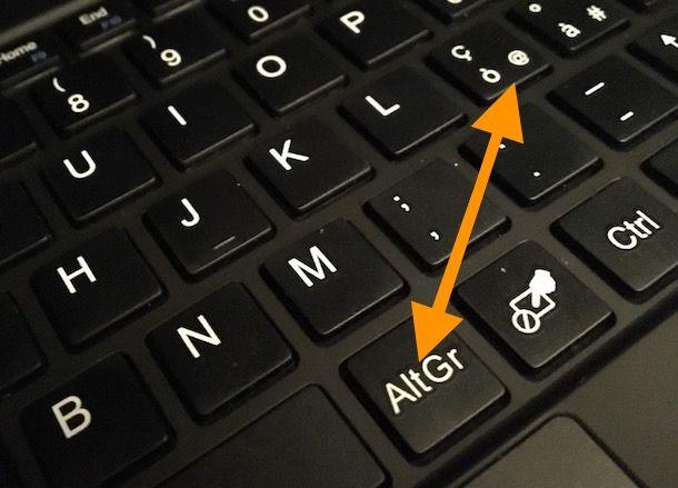 Come fare la chiocciola sulla tastiera