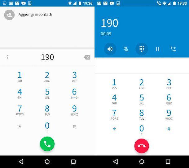 Screenshot che mostra come chiamare il 190 di Vodafone