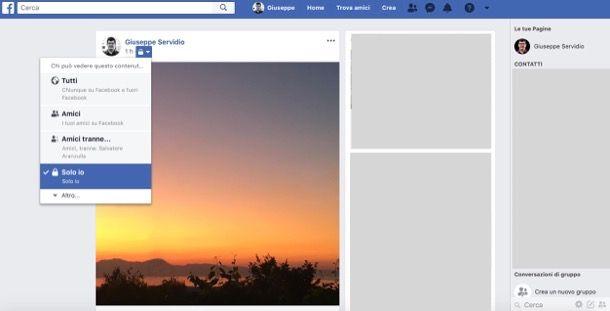 Limitare visione foto Facebook