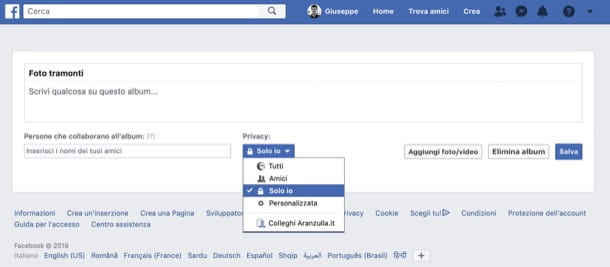 Modifica privacy album Facebook da computer