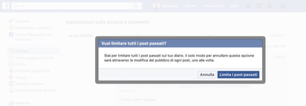 Limitare vecchi post Facebook da computer