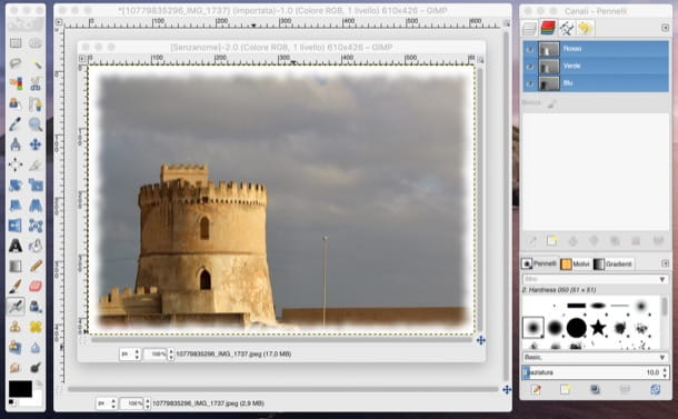 Sfumare bordi con GIMP