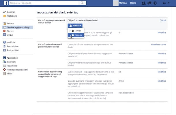 Come rendere privato il diario di Facebook