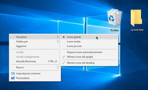 Come ingrandire le icone sul desktop