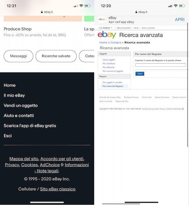 Cercare un negozio su eBay da smartphone e tablet