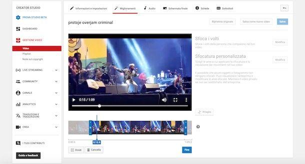 YouTube ritaglio
