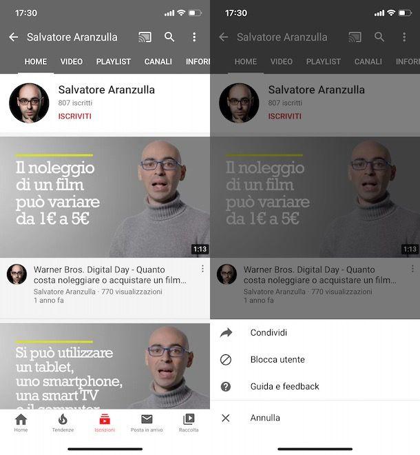 Bloccare un utente su YouTube da smartphone e tablet