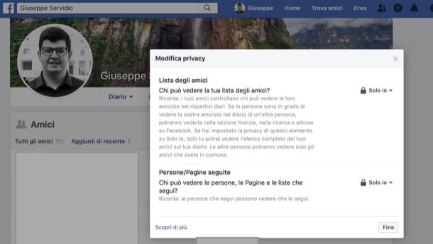 Tutelare privacy amici su Facebook