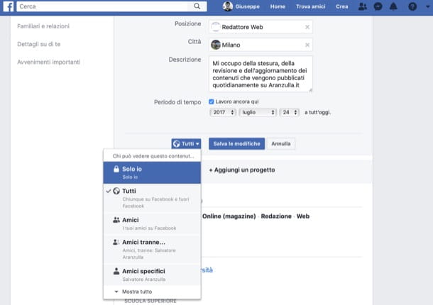 Informazioni privacy Facebook