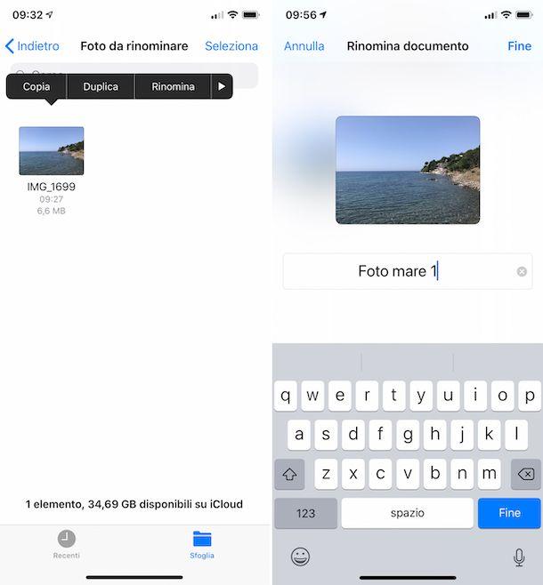 Rinominare foto su iPhone con File