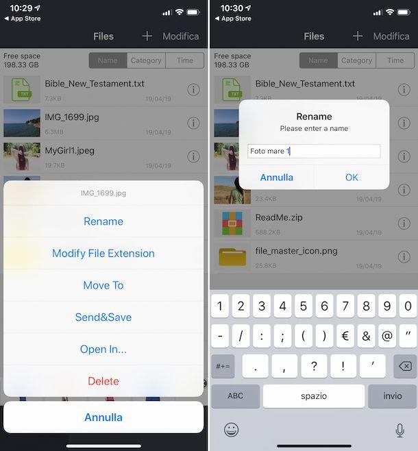 Rinominare foto su iPhone con File Master