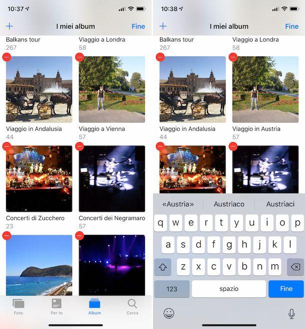 Rinominare album Foto su iPhone
