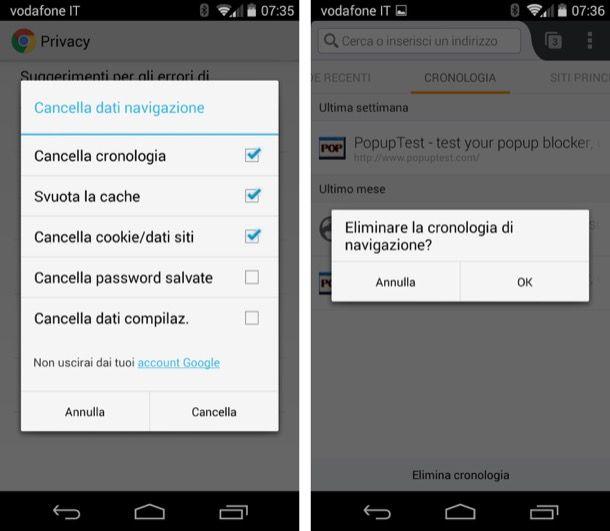 Cancellare conologia Android