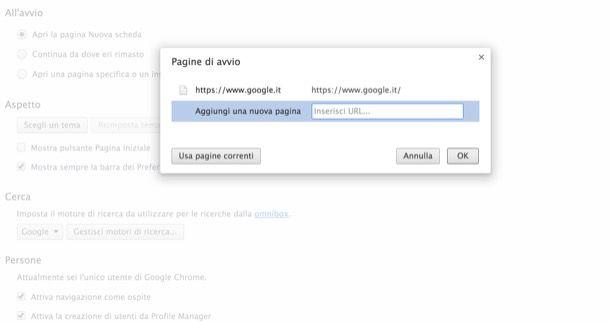 Come impostare Google come pagina iniziale di Chrome