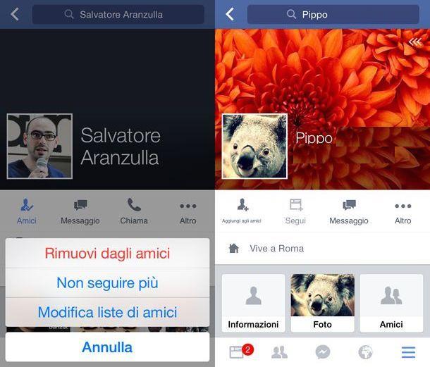 Eliminare amici Facebook
