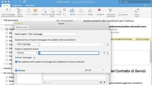 Inoltro automatico su Microsoft Outlook da Mac