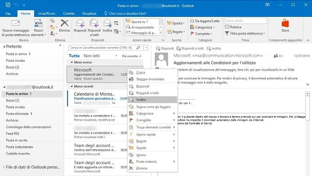 Inoltro manuale su Microsoft Outlook