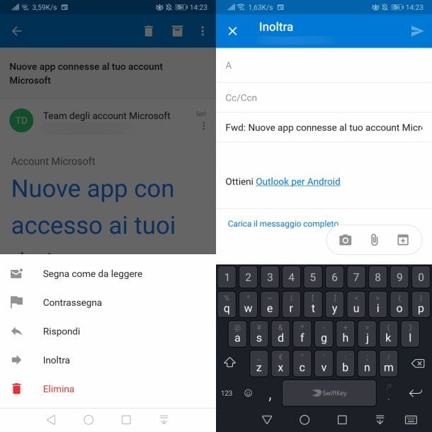 Inoltro manuale sull'app Outlook