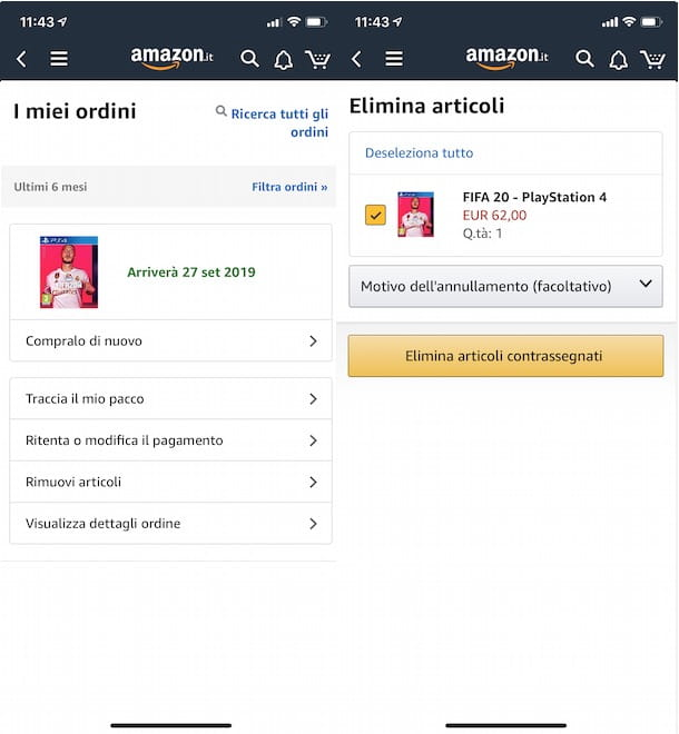 Come annullare preordine su Amazon da app