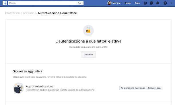 Autenticazione a due fattori di Facebook