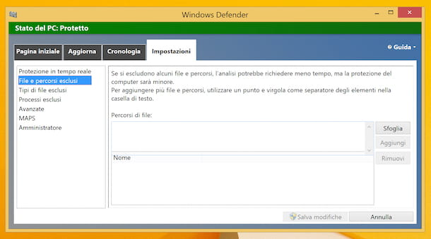 Windows Defender su Windows 8.1