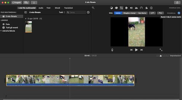 Ruotare un video con iMovie da Mac