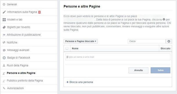 Bannare un utente da una pagina Facebook da Web