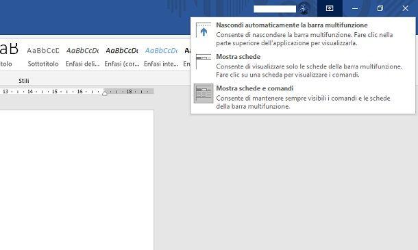 Pannello configurazione barra multifunzione Office 2019