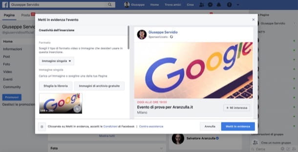 Sponsorizzare un evento su Facebook da computer