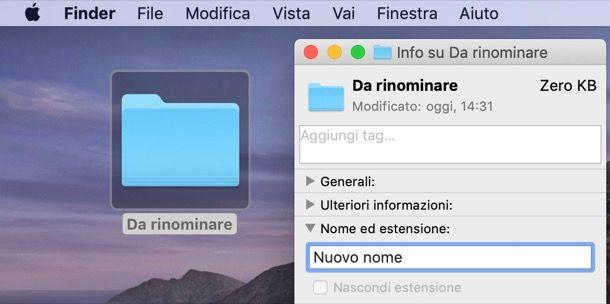 Rinominare cartella Mac dalla finestra Info