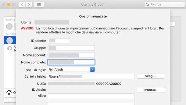 Cambiare nome cartella utente su Mac