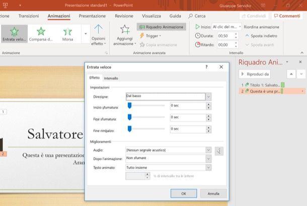 Inserimento animazioni sulle scritte PowerPoint