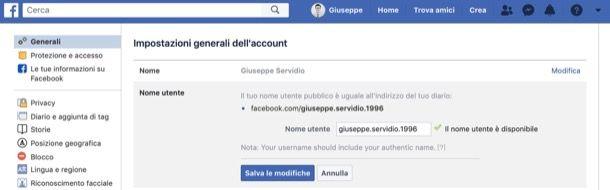 Url di Facebook