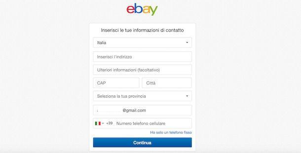 Creare account venditore eBay