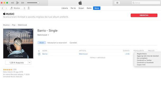 Regalare una canzone iTunes da computer