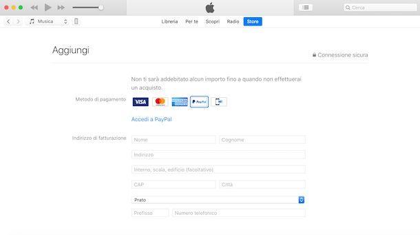 Aggiungere metodo di pagamento ID Apple
