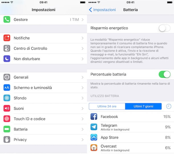 Come mostrare percentuale batteria iPhone